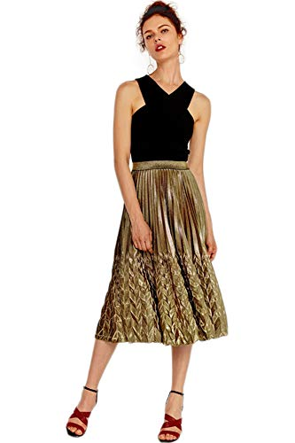 X-xyA Frauen Metallic Shiny Pleated Rock Slim High Waist Mermaid Beach Maxi Rock,Gold,M -