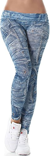 7/8 Capri Print-Leggings Jeans-Look Jeggings, Blau (Capri Leggings Print)