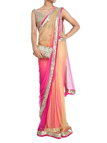 Vinayak Textiles Women\'s Net Saree With Blouse Piece (Vtstkk113-15, Pink, Free Size)