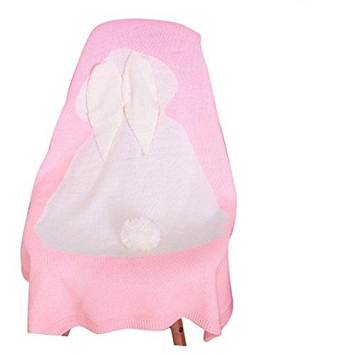Baby Stricken Wolle Kaninchen Bunny Decke handgefertigt gehäkelt Sofa Beach Quilt Teppich Pink