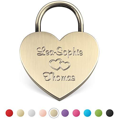 LIEBESSCHLOSS-FACTORY Candado de amor Oro-Antiguo grabado en forma de corazón. Caja de regalo gratis...