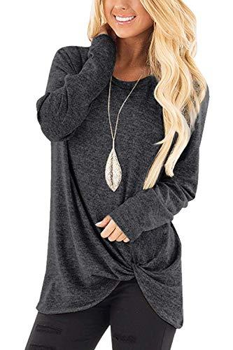 7098126931ef OranDesigne Damen Langarm T-Shirt Pulli Rundhals Ausschnitt Hemd Sweatshirt  Streifen Asymmetrisch Lässige Jumper Bluse