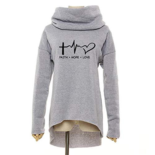 Thinkin Mode Glauben Hoffnung Liebe Weihnachten Kleidung Frauen Hoodies Winter Schal Kragen Casual Herbst Sweatshirts Pullover Grobe Grau M - Hoodie-schal Frauen
