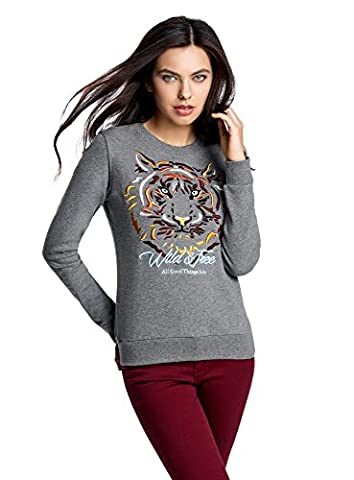 oodji Ultra Women's Sweatshirt with Tiger Embroidery, Grey, UK 6