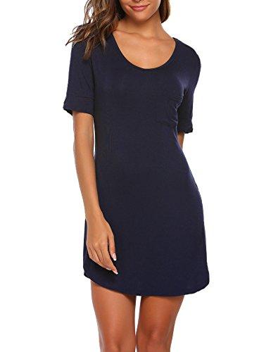 Ekouaer Damen Nachthemd Sommer O-Ausschnitt Kurzarm Nachtkleid Einfarbig über dem Knie Enge Nachtwäsche, Stil 2-Marine, EU 40(Herstellergröße:L) (Kurzarm-nachthemd)