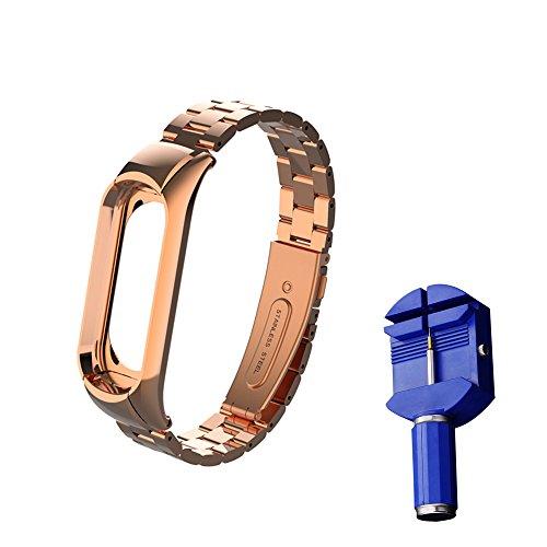 Imagen de wanfei pulsera xiaomi mi band 3 correa, band 3 correa de metal pulseras de repuesto correa de recambio brazalete extensibles para xiaomi mi band 3 no sensor/no host  oro rosa