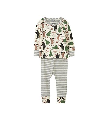 Hatley Baby-Jungen Zweiteiliger Schlafanzug 100% Organic Cotton Mini Pyjama Set, Weiß (Unusual Loggers 100), 12-18 Monate