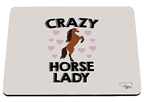 Hippowarehouse Crazy Horse Lady Imprimé Tapis de souris accessoire de base en caoutchouc Noir 240mm x 190mm x 60mm, Violet/orange, taille