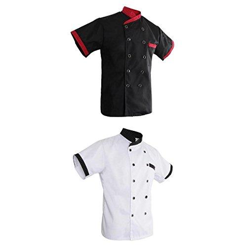 4a91f07cd6a MagiDeal Set de 2x Chaqueta de Unisex Chef Diseño de Raya Manga Corta Hotel  Kitchen Chefwear