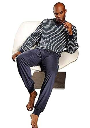 Seidensticker Herren langer Schlafanzug Pyjama Anzug Lang - 141195, Größe Herren:48;Farbe:blau