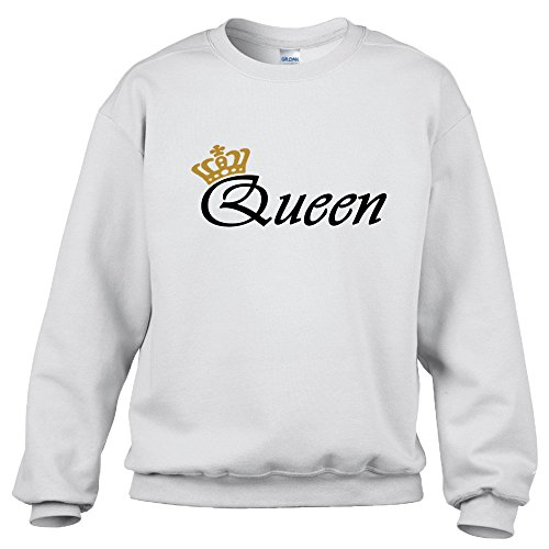 """Felpa con scritta oro """"King"""" o """"Queen"""" + simbolo corona - WHITE QUEEN"""