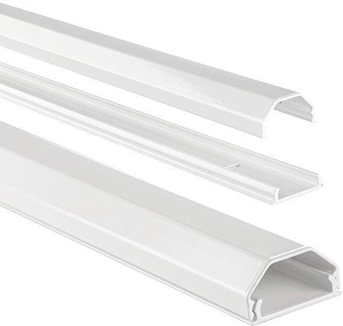 Hama Kabelkanal Alu (Aluminium Leiste für TV Wandhalterung, Kabelabdeckung eckig, 110 x 3,3 x 1,7 cm, Kabeldurchführung für bis zu 5 Kabel, inkl. Montagematerial) weiß - Tv Drinnen Für Antenne