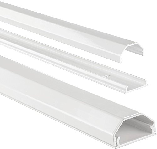 Hama Kabelkanal Alu (Aluminium, eckig, 110 x 3,3 x 1,7 cm, bis zu 5 Kabel) weiß