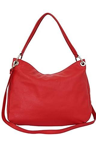 AMBRA Moda Damen echt Ledertasche Handtasche Schultertasche Beutel Shopper Umhängtasche GL002 Viele Farben
