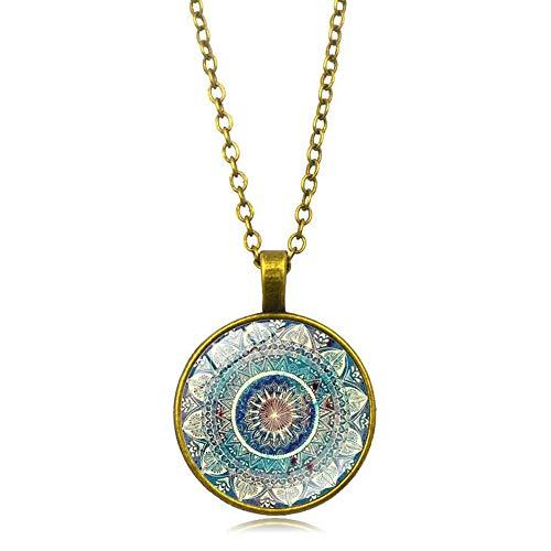 YDMSGSB Colgante Collar Mandala Yoga Tiempo Piedras Preciosas Collar De Cristal Pareja Regalo Joyas