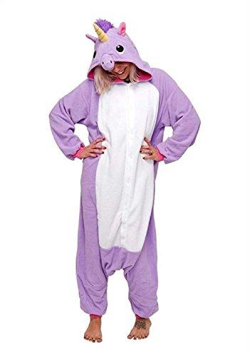 Kostüm Lila Einhorn Kigurumi - Canberries® Tier Karton Kostüm Einhorn PyjamaTierkostüme Jumpsuit Erwachsene Schlafanzug Unisex Einhorn Cosplay (XL, Lila Einhorn)