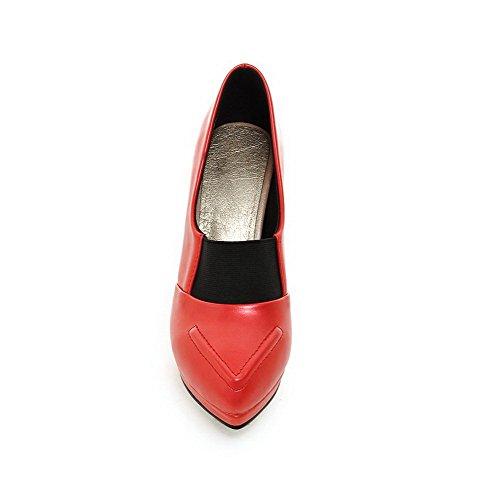 Salto Alto Reinziehen Material Senhoras Dedo Vermelhos Em Sapatos Voguezone009 Bombas Apontado Macio EC5nnZxq