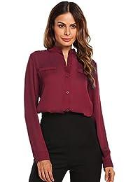 color rápido nuevo baratas artesanía exquisita Amazon.es: camisas color vino - Mujer: Ropa