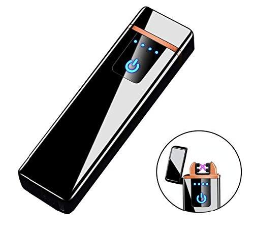 THE NAMCHE BAZAR Encendedor USB Doble Arco, eléctrico Recargable, Mechero sin Llama ecológico sin Gas Caja de Regalo mechero Copa Viento Muy Elegante (Negro)