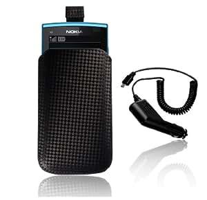 Supergets® Nokia X3-02 Black Carbon Fibre, Car Charger And Stylus
