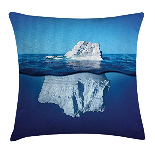 hrow Pillow Cushion Cover by, Siberian Cold Snowy Pole North South Ice Mountains Cubes on The Ocean, Decorative Square Accent Pillow Case, 18 X 18 Inches, White and Blue ()