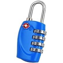 TRIXES Lucchetto di sicurezza a 4 combinazioni per valigia approvato dalla TSA - luminoso blu
