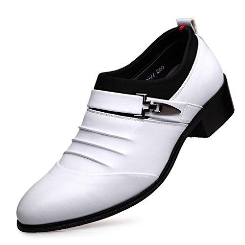 Scarpe Da Uomo Per Il Tempo Libero In Pelle Tendine Dress Autunno Business Wedding Moda Slip On Marrone-nero bianca