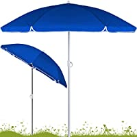 Sombrilla de playa 200 cm inclinable azul Arco de 200 cm con Ø 180 cm Altura ajustable