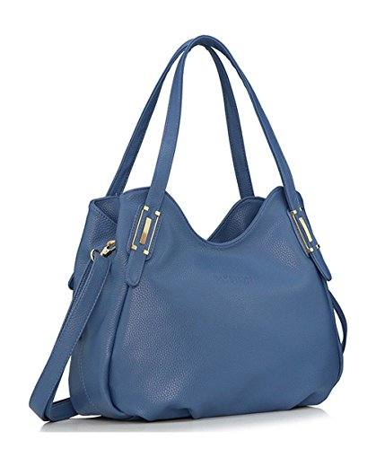 Keshi Cuir Frais - Sac à main femmes - Porté MAIN et EPAULE Bleu Saphir