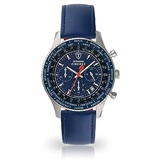 DETOMASO Firenze SL1624C-BL-659 – Reloj de Pulsera para Hombre, cronógrafo, analógico, Cuarzo, Correa de Piel Azul, Esfera Azul