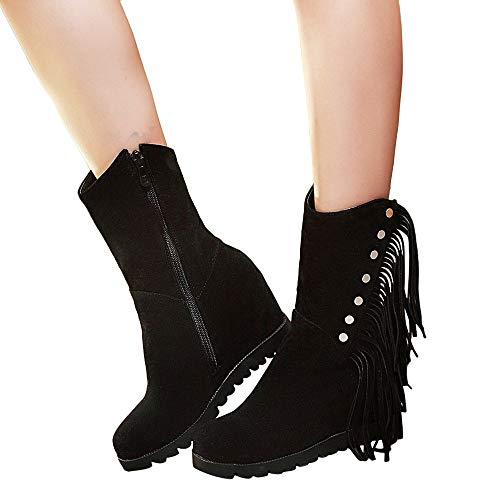 Stiefel Damen Martain Boots Frauen Runde Toe Wedges Quaste Schuhe Middle Tube Stiefel Zipper Suede Schneestiefel Wildleder Leder Stiefel Winterschuhe
