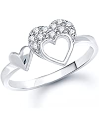 Peora Double Heart Rhodium Plated Cubic Zirconia AD Studded Silver Finger Ring For Women Girls