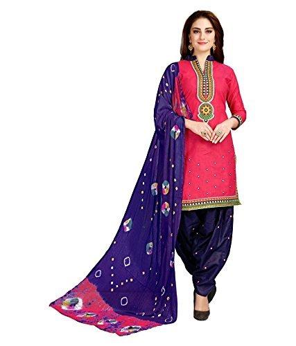 Impression Fab Women\'s Cotton Printed Regular Wear Salwar Suit Sets (Karishma Pink_Pink_Free Size)