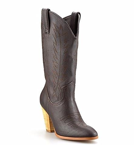 Ladies Womens Mid Calf Block Heel Western Riding Cowboy Biker Boots Shoes Size[UK 6.5,Brown]