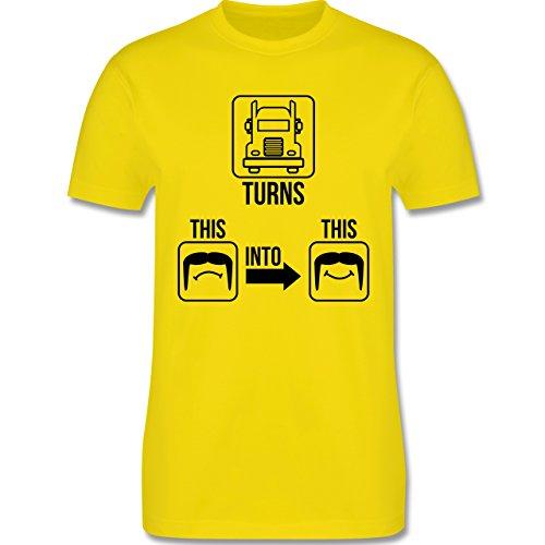 Trucker - Glücklicher Trucker - Herren Premium T-Shirt Lemon Gelb