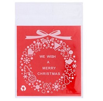 100 pcs Autocollant Merry Christmas Cookie Candy Emballage Plastique cellophane Sacs cadeaux 7*7 C