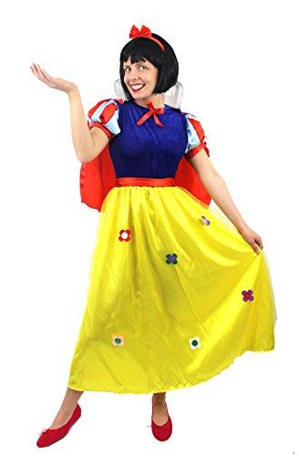 Schneewittchen-Kostüm, Deluxe-Version, schickes Prinzessin-Kleid für Damen. Wunderschöne Blumen-Details. Ideal für Märchen, Buch-Woche oder Charakter-Kostüm. Inklusive Umhang + (Princess Disney Schneewittchen Kostüme Damen)