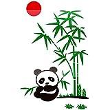 ZhenFa Panda Bambus dreidimensionalen Wand Aufkleber Familie Haus Treppe Flur 3D-Hintergrund Wand Selbstklebende dekorative DOO R Aufkleber China Wind Weihnachten Thanksgiving verkleiden Geschenk