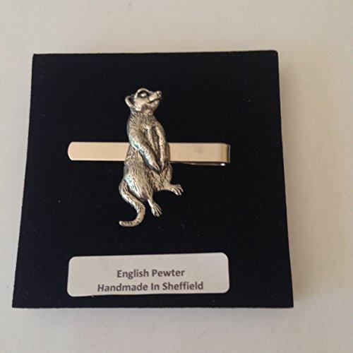 A61Erdmännchen English Pewter Emblem auf einem Krawattenklammer (Slide) handgefertigt in Sheffield kommt mit prideindetails Geschenkbox
