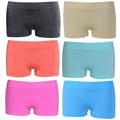 ReKoe 6er Pack Damen Slip Seamless Hipster Pants Lachs Rosa Pink Silber Glanz M L XL, Größe:M-L = 38/40 -