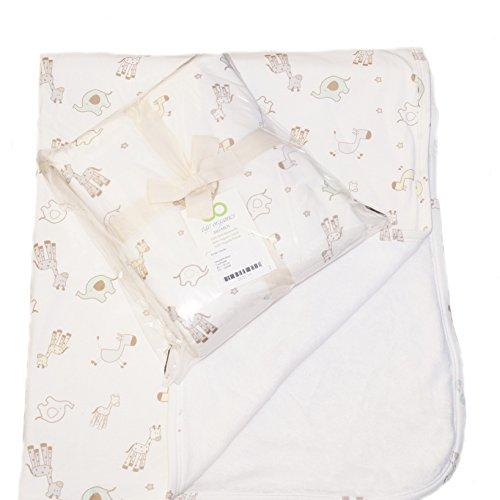 Preisvergleich Produktbild Babydecke 100% Bio-Baumwolle GOTS Baby Decke 4 Farben Krabbeldecke Kuscheldecke Schmusedecke Fleece 85x100cm (85x100cm Tiere)