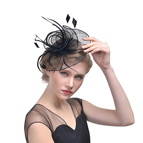 OdeJoy Frau Blume Mesh Bänder Gefieder Stirnband Cocktail Mini Kopfbedeckungen, Elegant Gefiedert Blumen Kopfbedeckungen, Hochzeit SchmuckCocktail Verein Kopfbedeckungen (1 PC, Schwarz)
