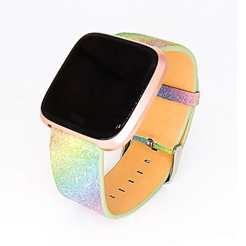 Preisvergleich Produktbild AmaSells Fitbit Versa Lite Uhr Intelligent Uhr Smart Watch Mode Ersatz Sport Schlicht Gestreiftes Bling Star Funkeln Leder Uhrenarmband Armband (B)