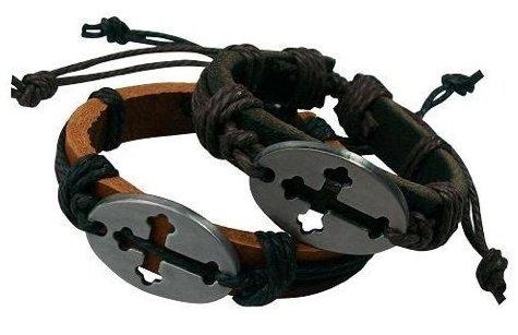 Bracelet Lot De 2 Metal Et Cuir Pape Religieux Religion
