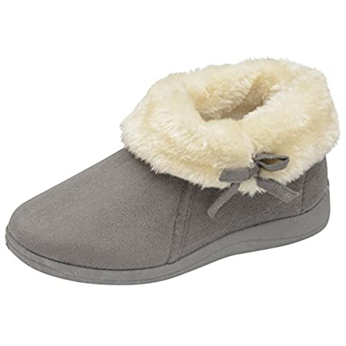 Dunlop Womens Bessie Faux Fur Collared Ankle Slipper Boots Size 3-8 (6 UK,  Charcoal)