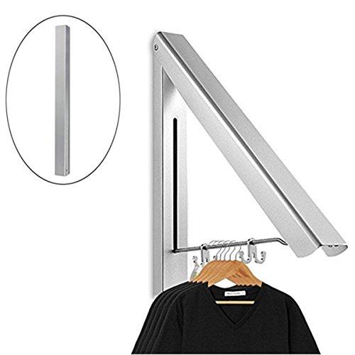Aufhänger PluieSoleil Faltbarer Wandaufhängung Mount Clothes Hook Faltbarer Einstellbarer Wäscheschrank mit 2 Haken für Balkon, Hotel, Badezimmer, Schlafzimmer, Silber 43 * 4,5 * 3,2CM (1) (Mount Kleiderhaken)