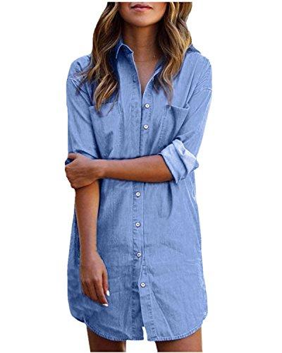 Styledome donna camicia manica lunga jeans moda shirt bluse maglia casual elegante basic blu it 40-42