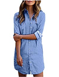 StyleDome Femme Chemise Robe Demin Tunique Jean Bouton Manches Longue Mini  Robe Courte Shirt Haut Tops 1074fef1fdb2
