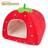 HOMEWINNER Lovely Strawberry Weicher Kaschmir Warm Pet Nest Hund Katzenbett Faltbare. Rot Waschbar Pup Hundehütte