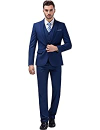 Tsui-Fashion Men's New Work Three Piece One Button Suits XZ00262BL